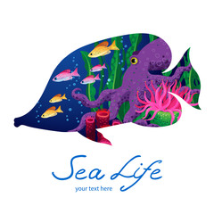 Marine life on background in the form of a fish.