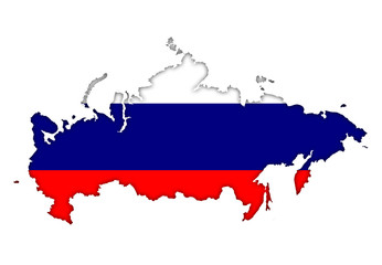 Russia flag banner plan map icon