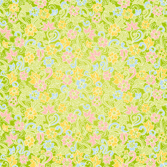 Bright spring seamless pattern with flowers and leaves.