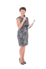 middle aged reporter with microphone isolated on white