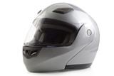 Silver glossy bike helmet isolated