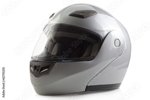 Silver glossy bike helmet isolated