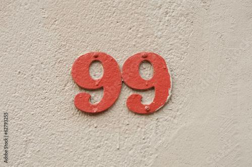 House Number ninety-nine sign Poster