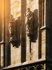 Sculpture of Milan Duomo in the late afternoon Light