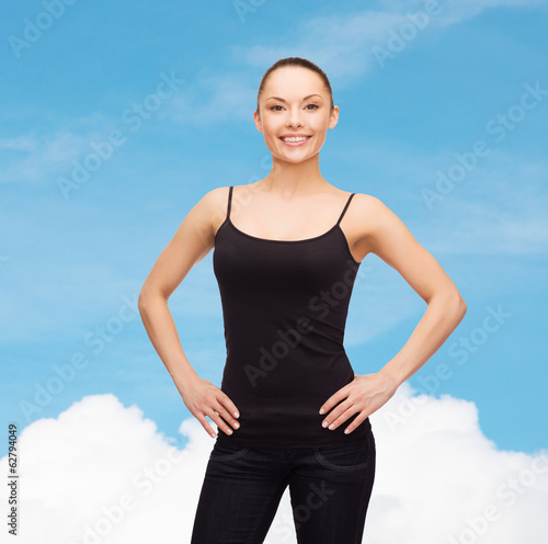 woman in blank black shirt