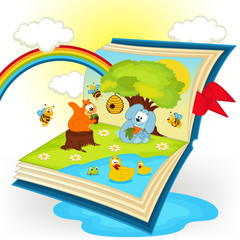magic book. animals in the glade - vector illustration