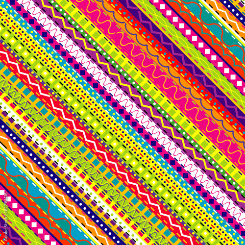 Doodle ethnic and colored seamless background
