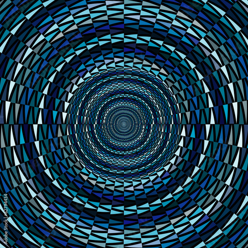 Circle ornament background made of blue triangles