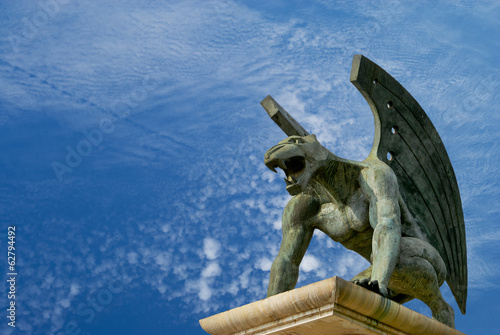 gargoyle of bridge kingdom. Valencia. Spain