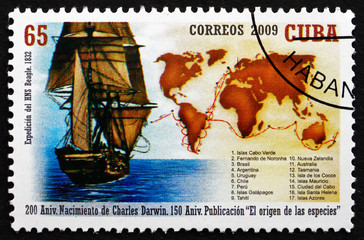 Postage stamp Cuba 2009 Ship and Map