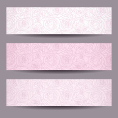 Three banners with contours of roses. Vector eps-10.