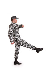 Soldier marching on a white background