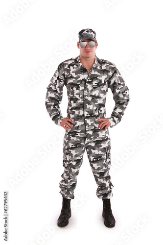 Military man on a white background