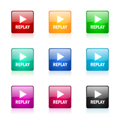 replay vector icons colorful set