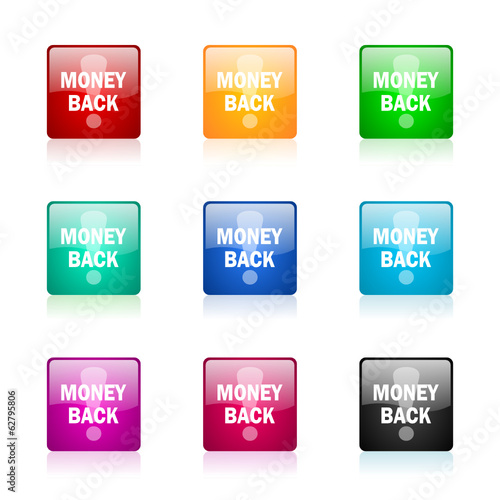 money back vector icons colorful set
