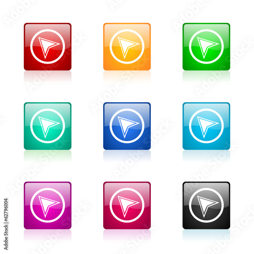 navigation icon vector colorful set