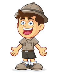 Boy Scout or Explorer Boy in Welcoming Gesture