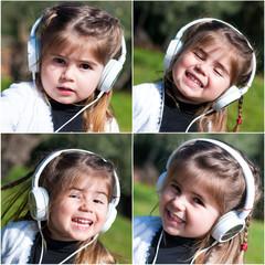 Bambina che ascolta musica - Collage
