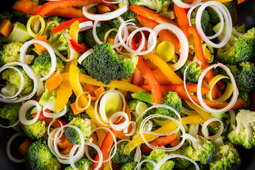 chopped vegetables in a frying pan