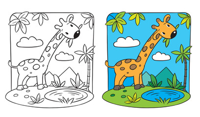 Giraffe. Coloring book