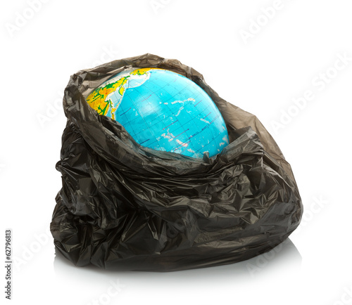 Earth inside litter pack on white