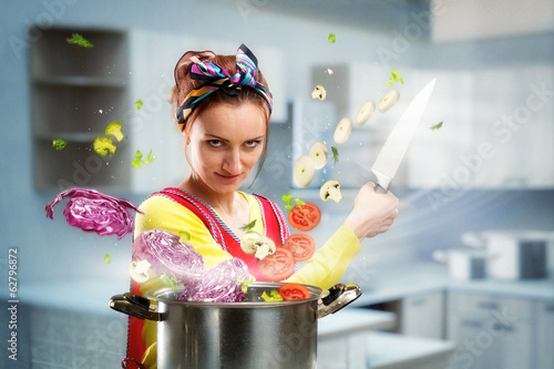 Housewife cooking vegetables on the kitchen