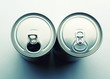 Two aluminum cans isolated on gray