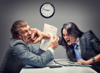 Mad fight of business people in office