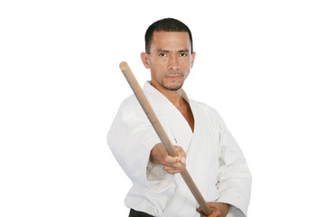 Closeup isolated portrait of martial arts man in kimono excercis
