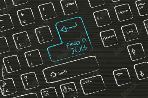 computer keyboard with special key: find a job
