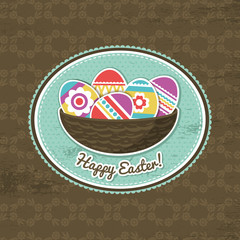 background with easter eggs and label, vector