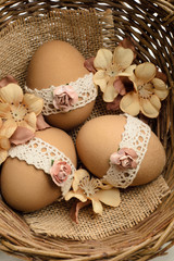 Lace decorated Easter eggs