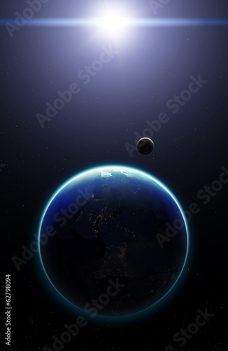 3D Planet Earth with Moon. Elements of this image furnished by N