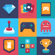 Vector online and mobile game icons and signs
