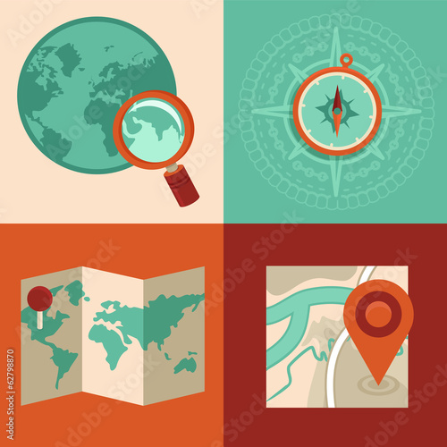 Vector travel and gps concepts in flat style