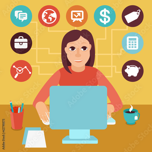 Vector self employed woman in flat style