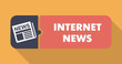 Internet News Concept on Orange in Flat Design.