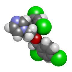 Miconazole antifungal drug molecule. Imidazole class antimycotic