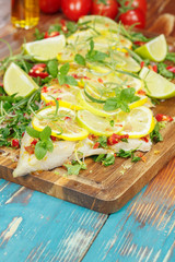 Cilantro Lime Cod. Cod fillet with chili and limes