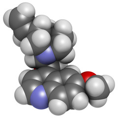 Quinine malaria drug molecule. Isolated from cinchona tree bark.
