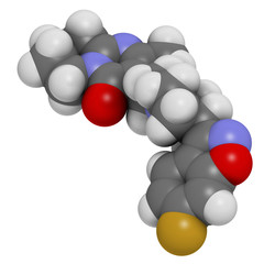 Risperidone antipsychotic drug molecule.