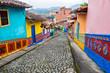 Leinwanddruck Bild - Colorful Cobblestone Street