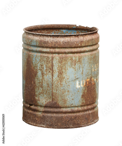 Rusty barrel isolated on white background