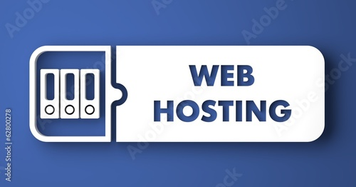 Web Hosting on Blue in Flat Design Style.