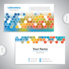 Universal orange-blue medical laboratory business card.