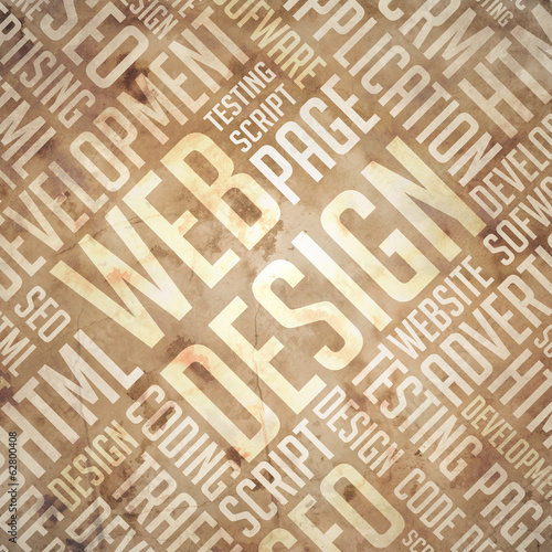 Web Design - Grunge Beige-Brown Wordcloud.