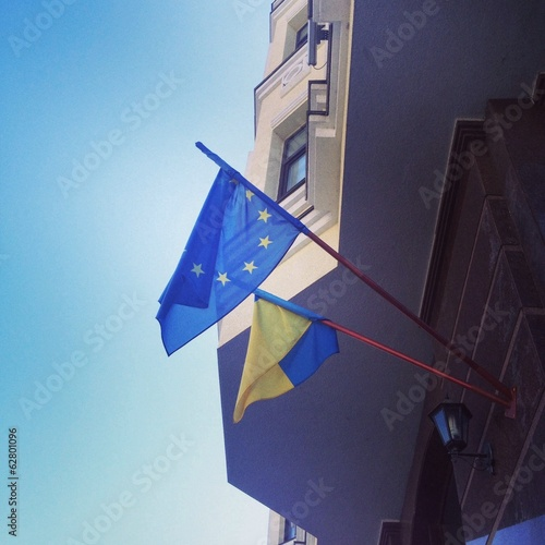 Ukrainian and EU flags
