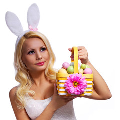 Blonde girl with easter basket isolated