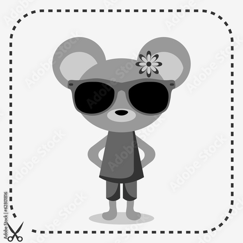 Cute mouse wearing clothes and sunglasses