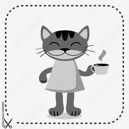 Cute kitty in clothes holding a cup of coffee